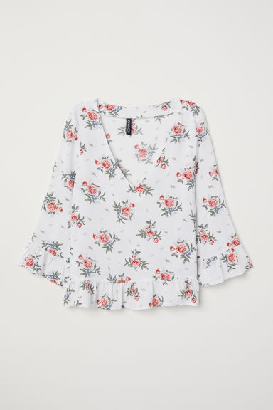 V-neck blouse - White/Floral - Ladies | H&M CN