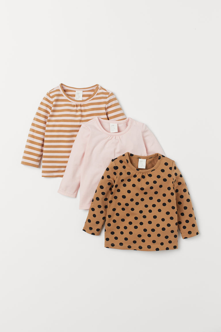 3er-Pack Jerseyshirts - Dunkelbeige/Gepunktet - Kids | H&M AT