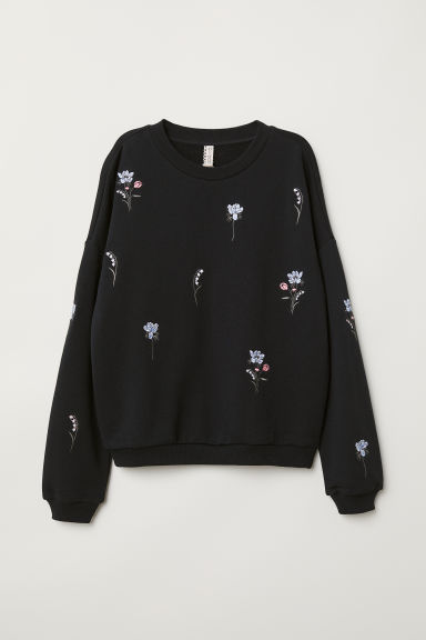 Sweatshirt with embroidery - Black/Flowers -  | H&M CN