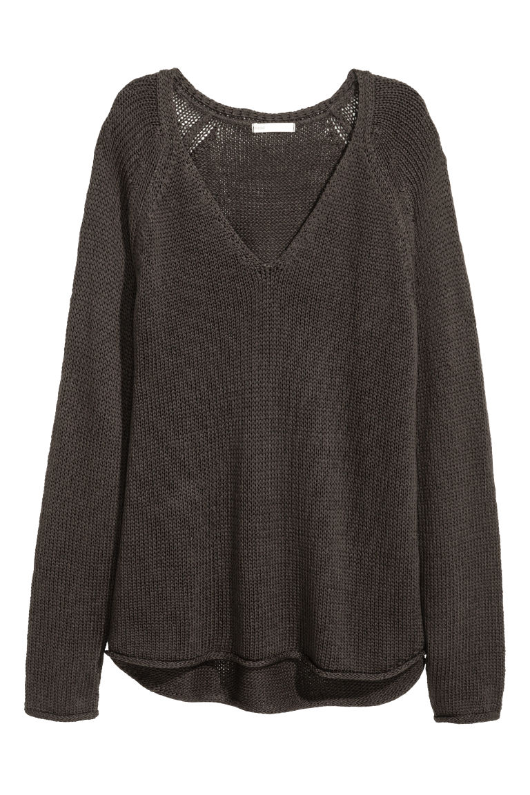 Pullover a punto largo - Grigio scuro - DONNA | H&M IT