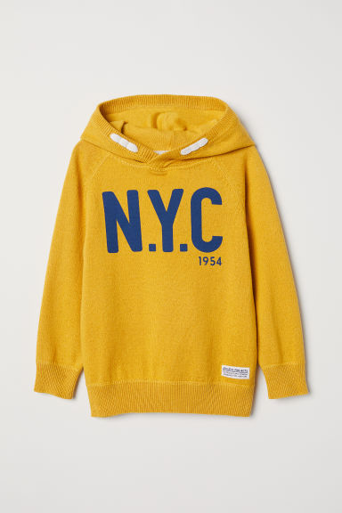Fine-knit hooded jumper - Yellow/NYC - Kids | H&M