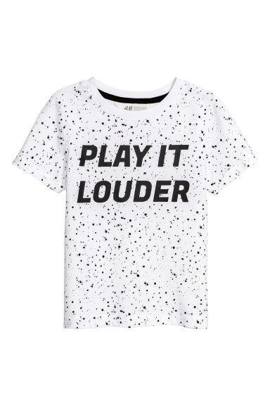 Printed T-shirt - White/Patterned - Kids | H&M CN