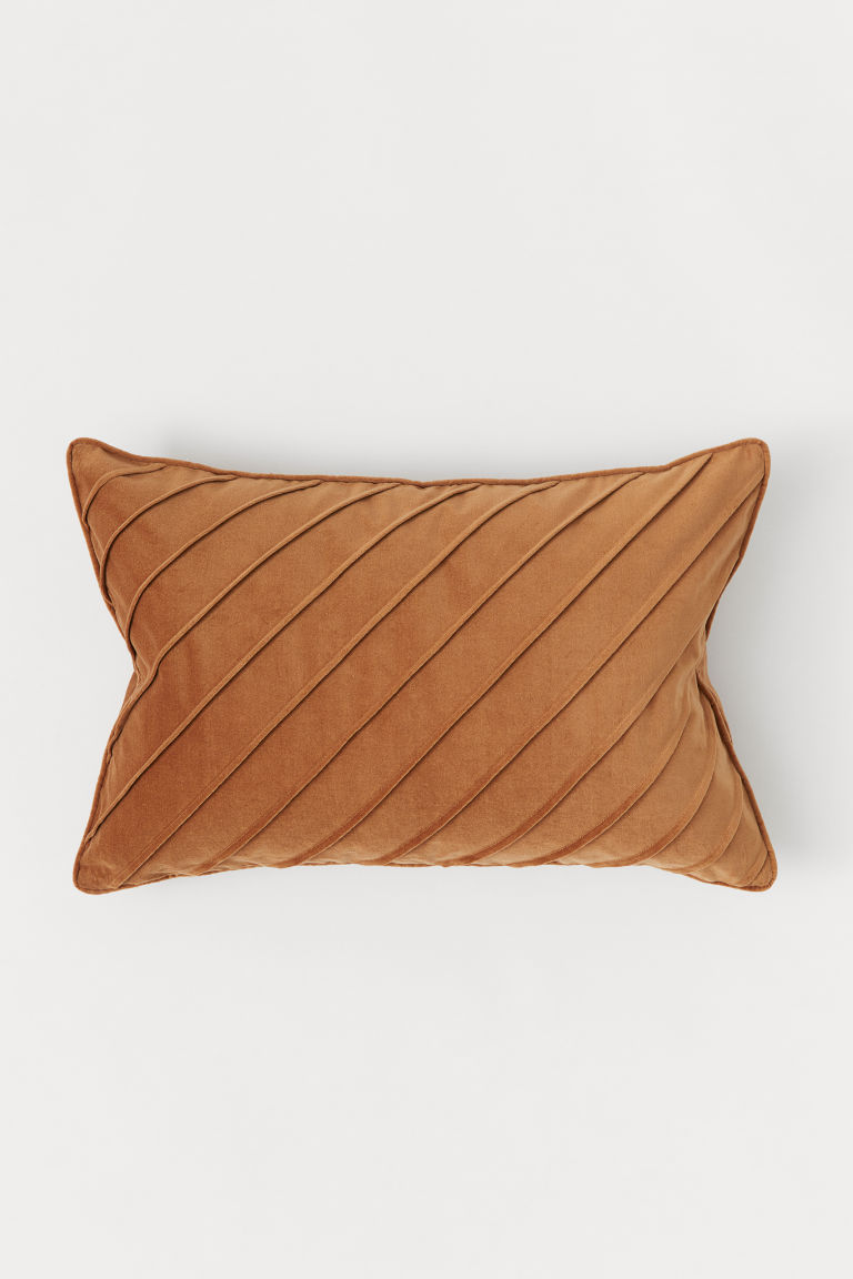 Cotton velvet cushion cover - Light brown - Home All | H&M CN