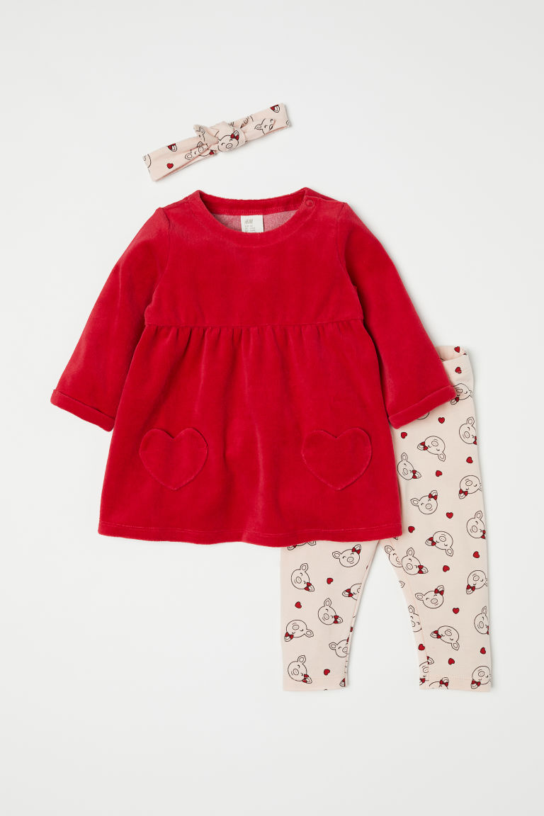 3-piece set - Red - Kids | H&M CN