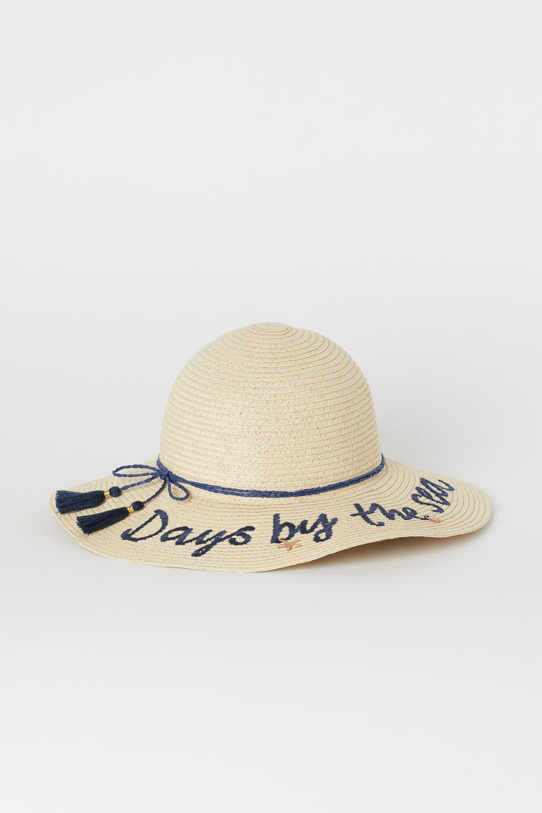 Glittery straw hat - Light beige/Glittery - Kids | H&M