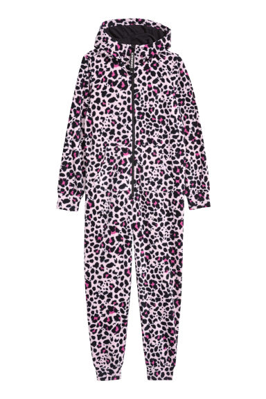 Fleece all-in-one suit - Pink/Leopard print - Kids | H&M CN