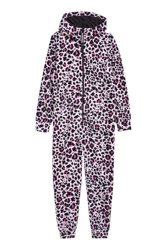 8dcaa15d529c Fleece all-in-one suit - Pink/Leopard print - Kids   H&M CN