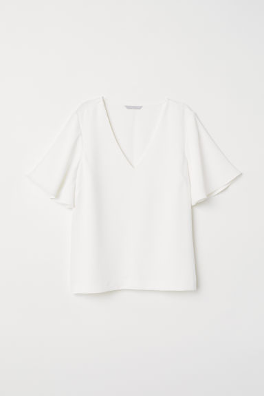 Wide-sleeved blouse - White - Ladies | H&M CN