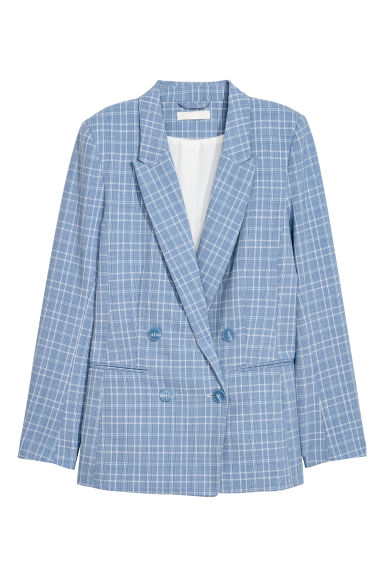 Jacket - Light blue/Checked - Ladies | H&M GB