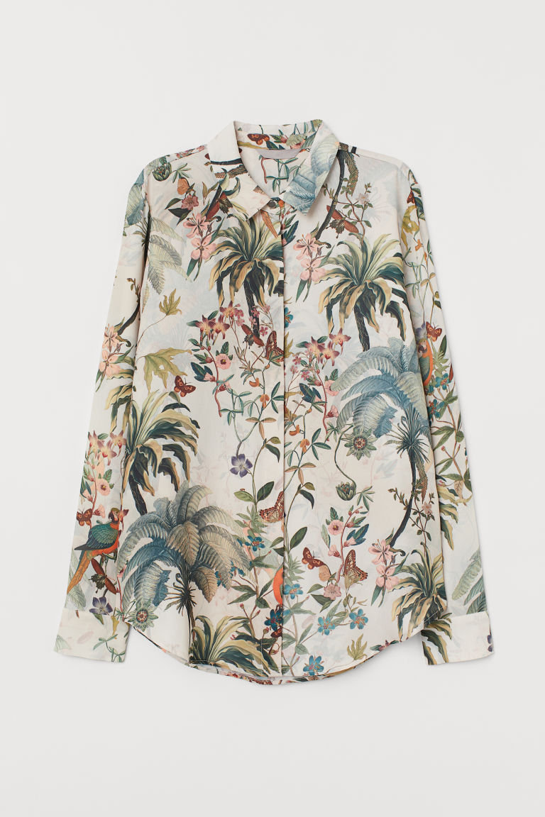 Long-sleeved blouse - Light beige/Patterned - Ladies | H&M