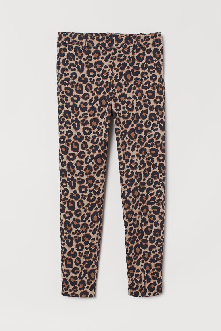 Ankle-length trousers - Beige/Leopard print - Ladies | H&M GB