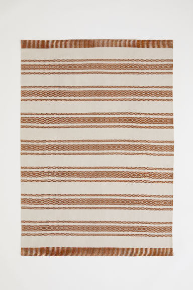 Patterned cotton rug - Light brown/Natural white - Home All | H&M CN