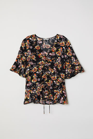 Drawstring blouse - Black/Floral - Ladies | H&M CN