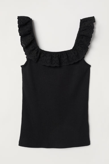 Embroidered jersey top - Black - Ladies | H&M CN