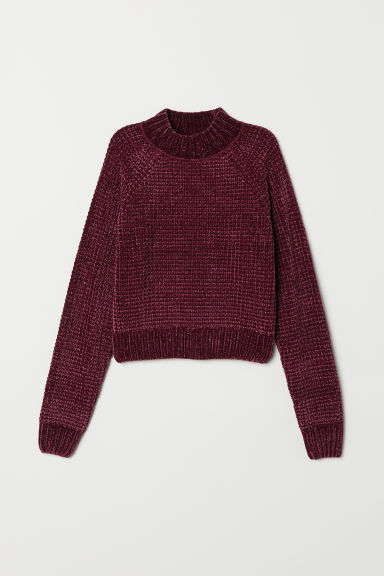 Ribbed jumper - Burgundy/Chenille -  | H&M