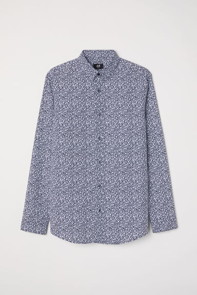 Easy-iron shirt Slim fit - Dark blue/Floral - Men | H&M