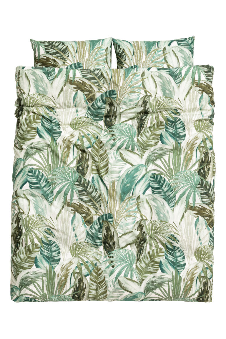 Leaf-print duvet cover set - White/Green patterned - Home All | H&M GB