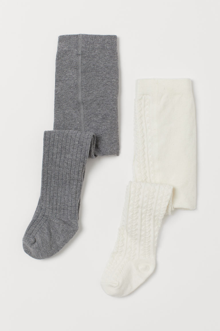 2-pack Fine-knit Tights - Natural white/dk. gray melange - Kids | H&M US