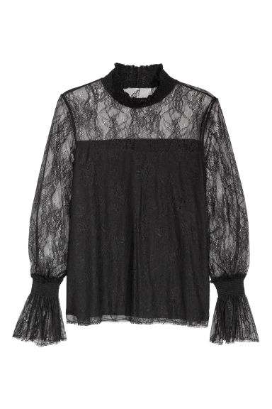 H&M+ Lace top with smocking - Black - Ladies | H&M CN