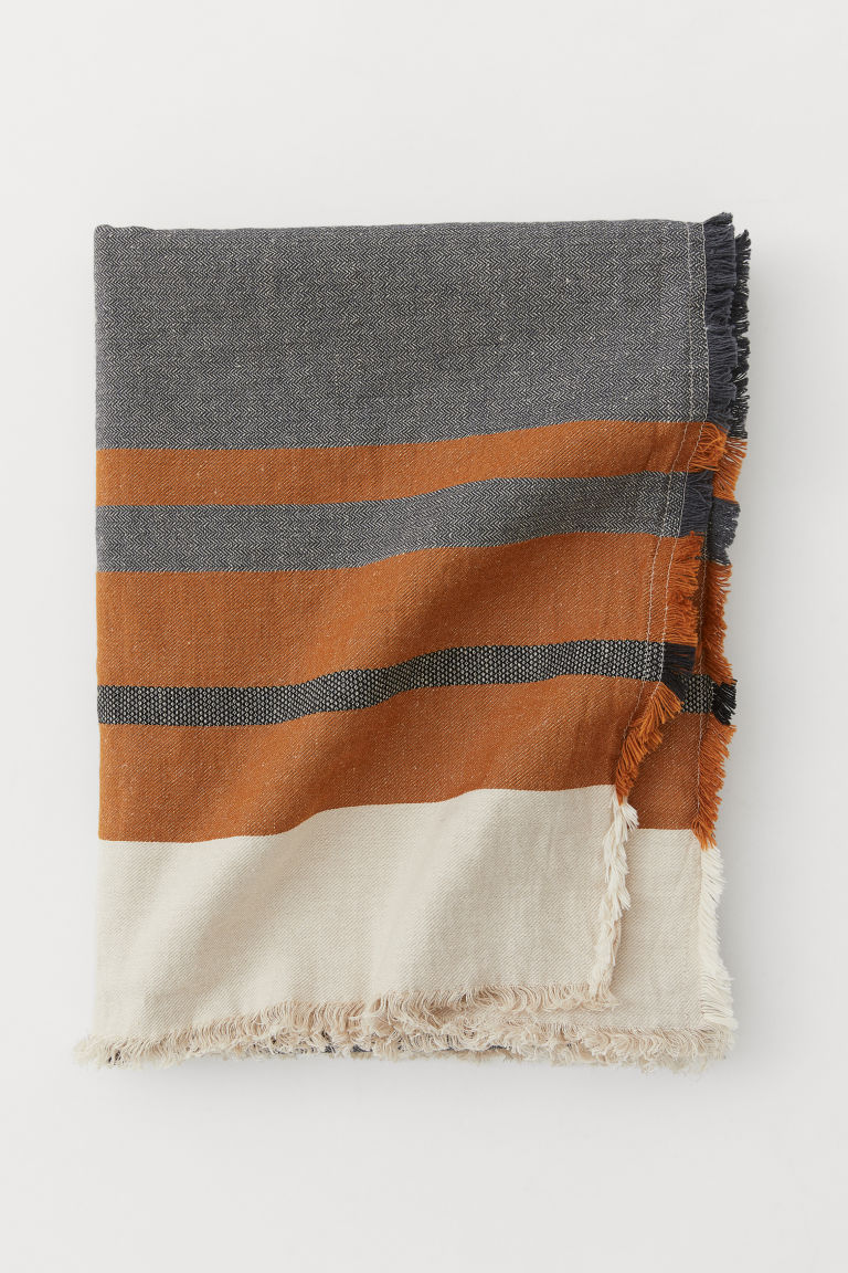 Linen-blend blanket - Anthracite grey/Light brown - Home All | H&M GB