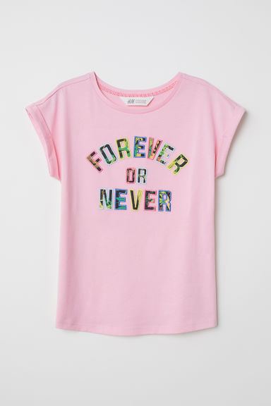 图案T恤 - 粉红色/Forever Or Never - Kids | H&M CN