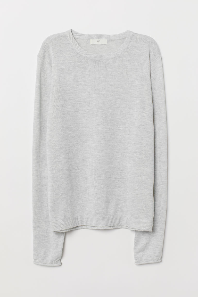Fine-knit jumper - Light grey marl - Ladies | H&M CN