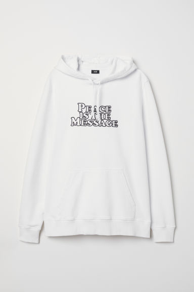 Text-print hooded top - White - Men | H&M