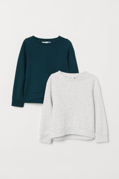 2-pack tops - Light grey/Dark green - Kids | H&M CN