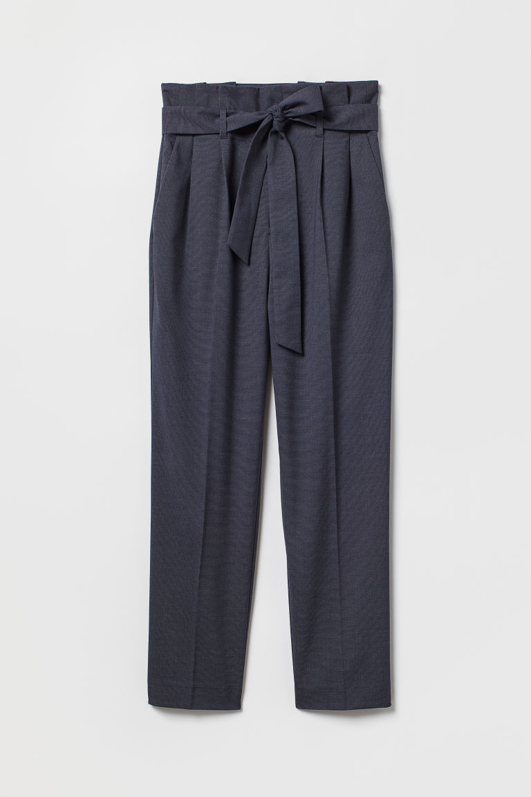 Paper bag trousers - Dark blue/Narrow striped - Ladies | H&M GB