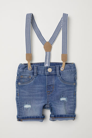 Shorts with Suspenders - Denim blue - Kids | H&M US