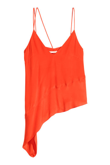 Asymmetric satin top - Orange - Ladies | H&M