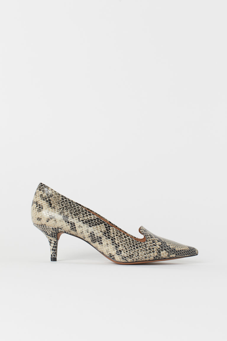Leather court shoes - Black/Snakeskin-patterned - Ladies | H&M