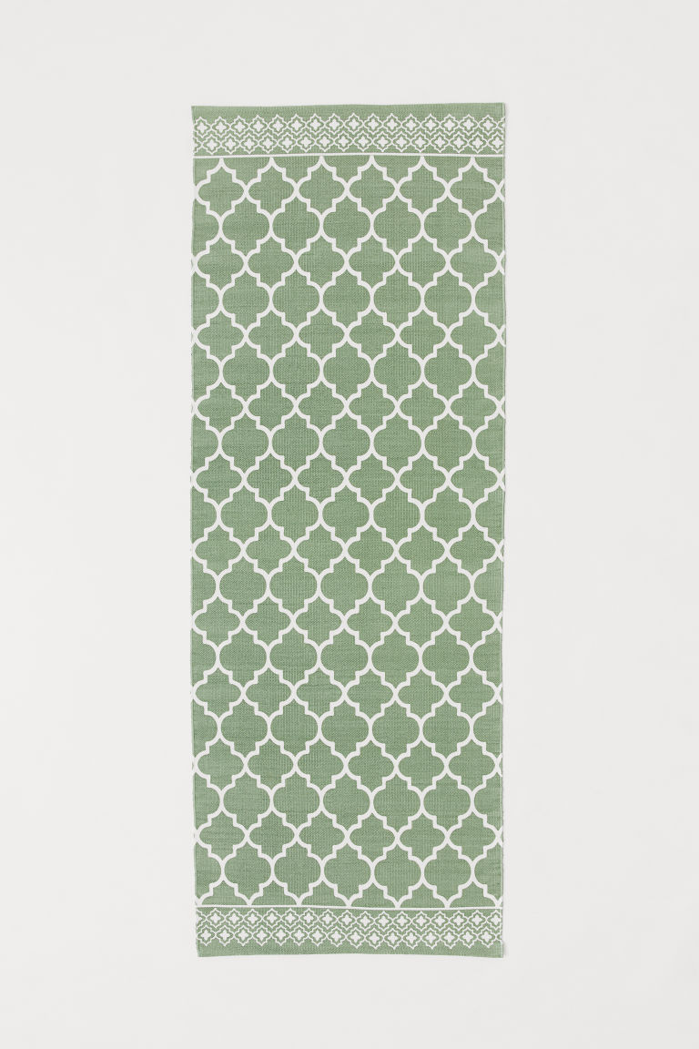 Patterned cotton rug - Green - Home All | H&M GB