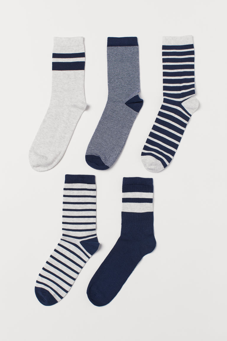 5-pack socks - Dark blue/Grey striped - Kids | H&M IE