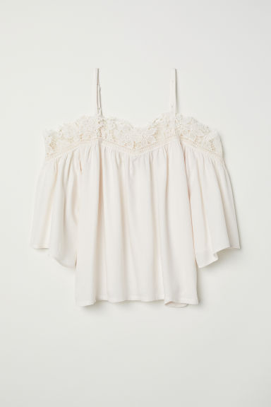 Cold shoulder blouse - White -  | H&M
