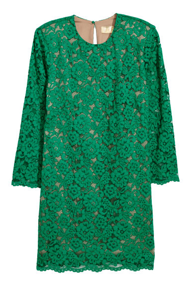 Short lace dress - Green -  | H&M