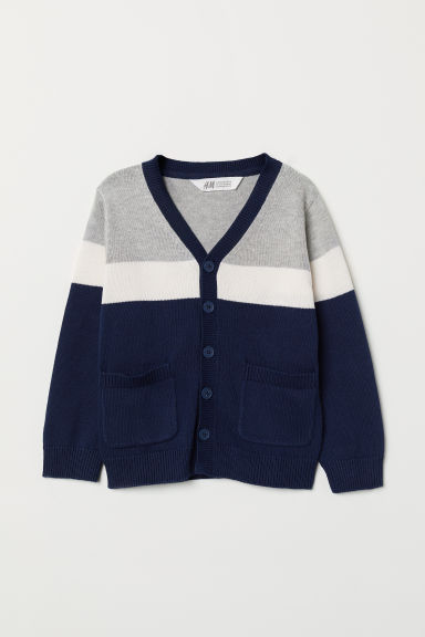 Fine-knit cardigan - Dark blue/Grey - Kids | H&M