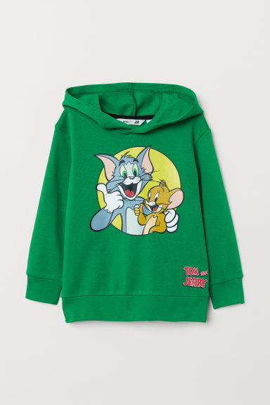 Printed hooded top - Green/Tom and Jerry - Kids | H&M