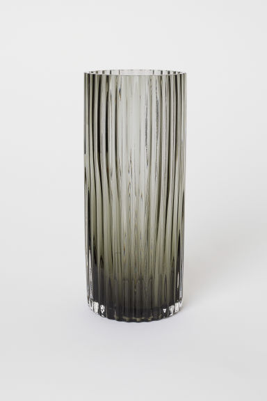 Fluted Glass Vase - Gray -  | H&M CA