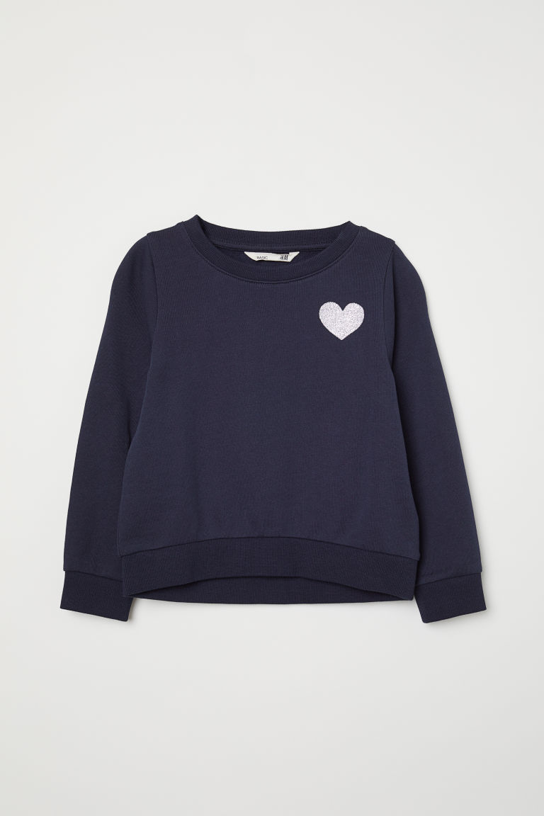 Printed sweatshirt - Dark blue/Heart - Kids | H&M