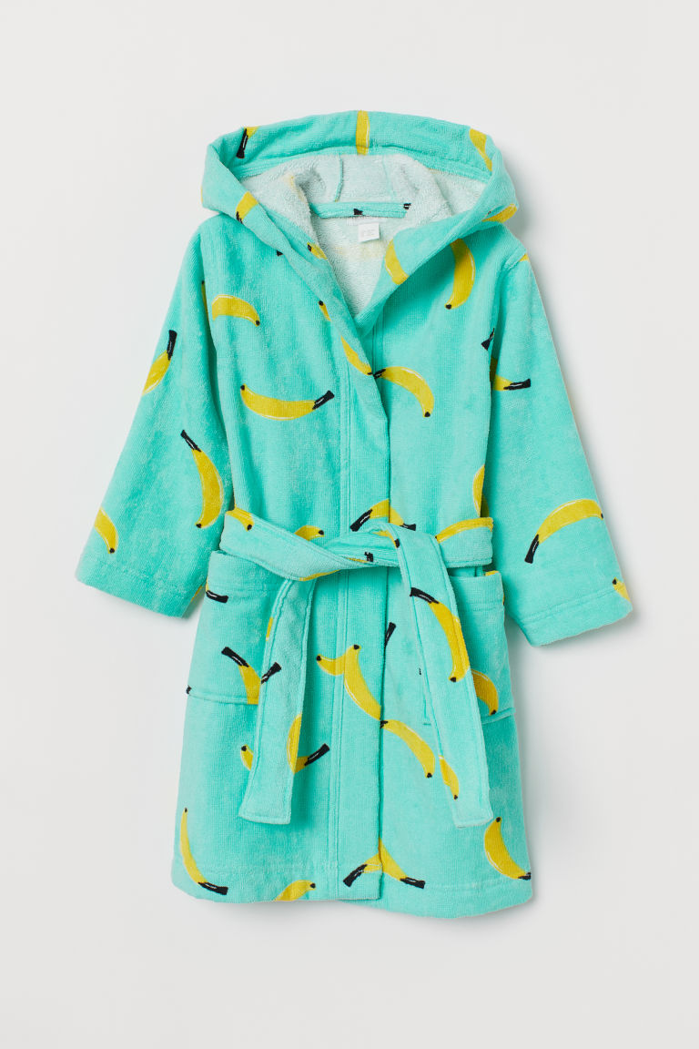 Cotton dressing gown - Mint green/Bananas - Home All | H&M CN