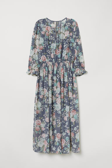 Patterned dress - Pigeon blue/Floral -  | H&M IE