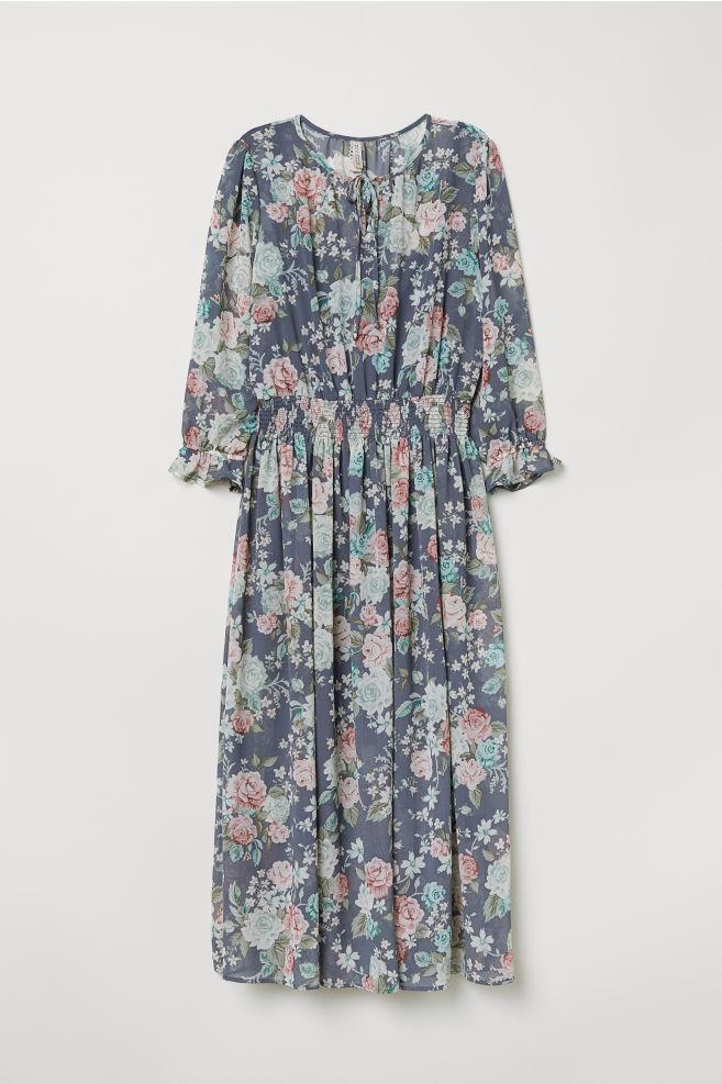 bcf1b229d3 Wzorzysta sukienka - Gołębi błękit Kwiaty -