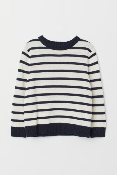Fine-knit Sweater - Dark blue/white striped - Kids | H&M CA