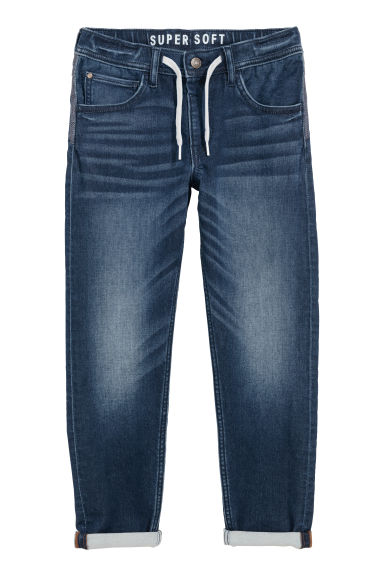 Super Soft Denim Joggers - Dark denim blue - Kids | H&M CA