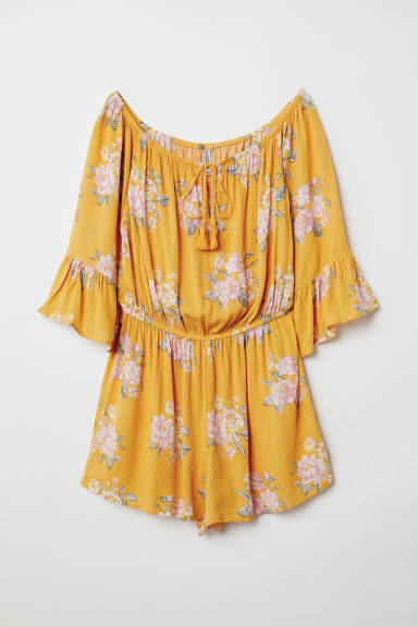 Off-the-shoulder playsuit - Yellow/Floral -  | H&M CN