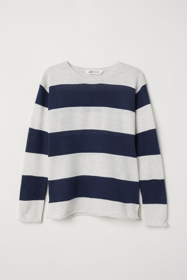 Glittery jumper - Light grey/Blue striped -  | H&M