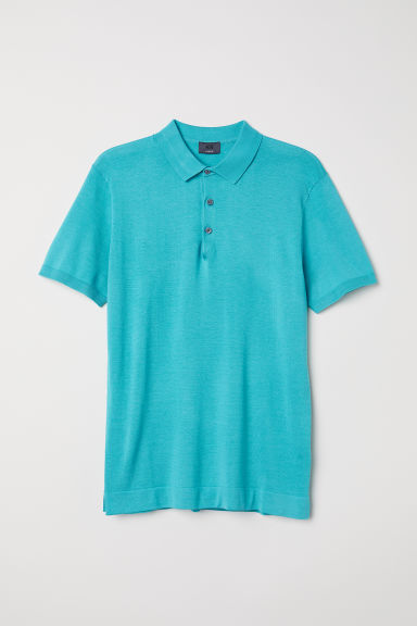 Silk-blend polo shirt - Light turquoise - Men | H&M
