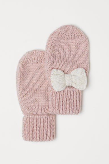 Knitted mittens - Old rose - Kids | H&M CN