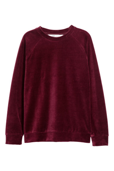 Sweat en velours - Bordeaux -  | H&M CH
